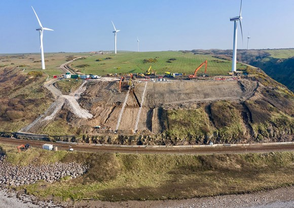 Drone view of landslip work at Lowca  - Photo credit: J Murphy & Sons